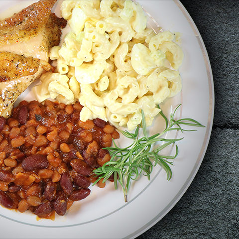 Herb Baked Chicken with Macaroni Salad and Beans
